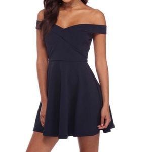 Navy blue off shoulder skater dress